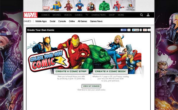 Crie sua própria história em quadrinhos pela Marvel